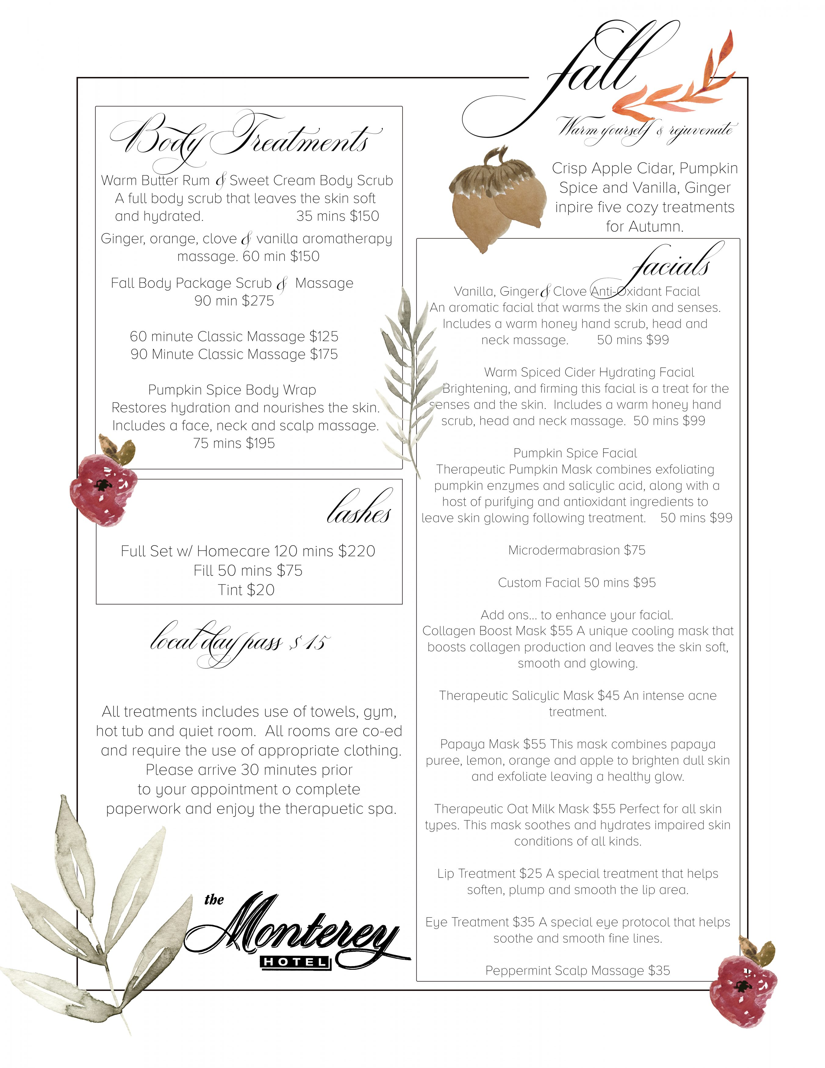 View the full service menu and book appointments for Doran Poma Skincare and the Monterey Hotel & Spa. Massage and Facials in Monterey, CA.