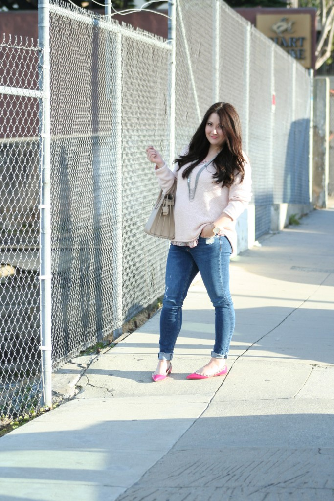 All Pink ft. H&M, Valentino Rock Stud Flats and YSL Sac de Jour