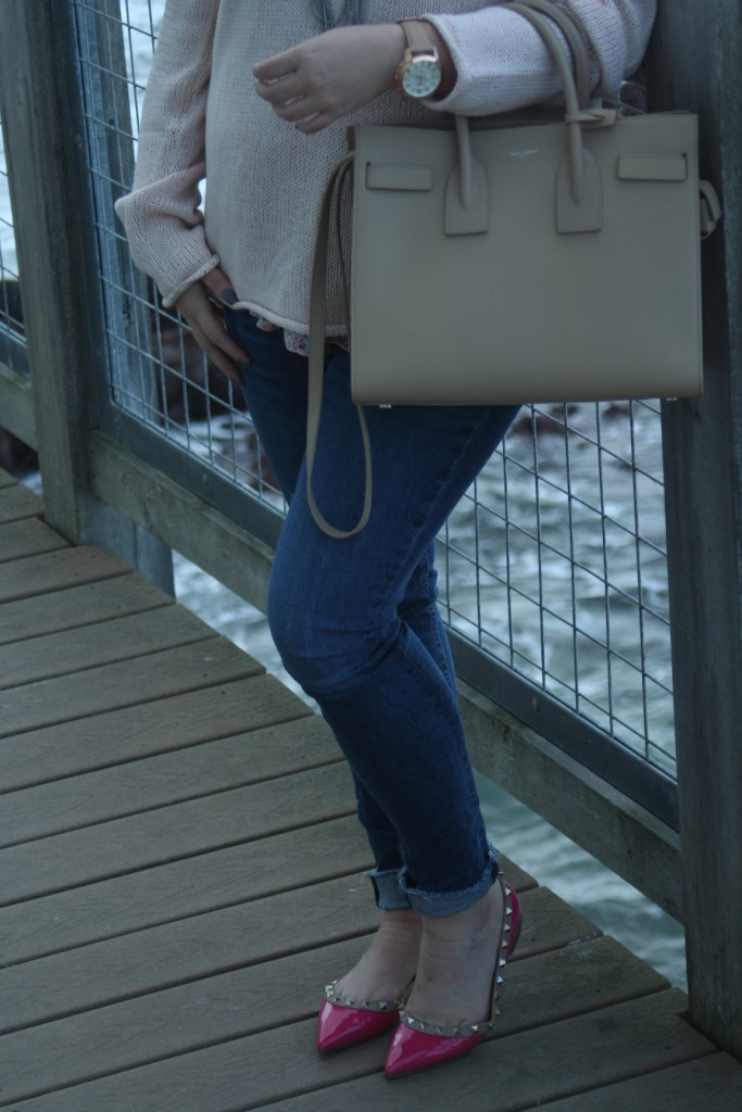 Pink Valentio with Cream Saint Laurent Sac de Jour