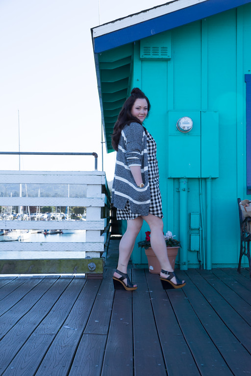 Madewell checked dress and stripped sweater