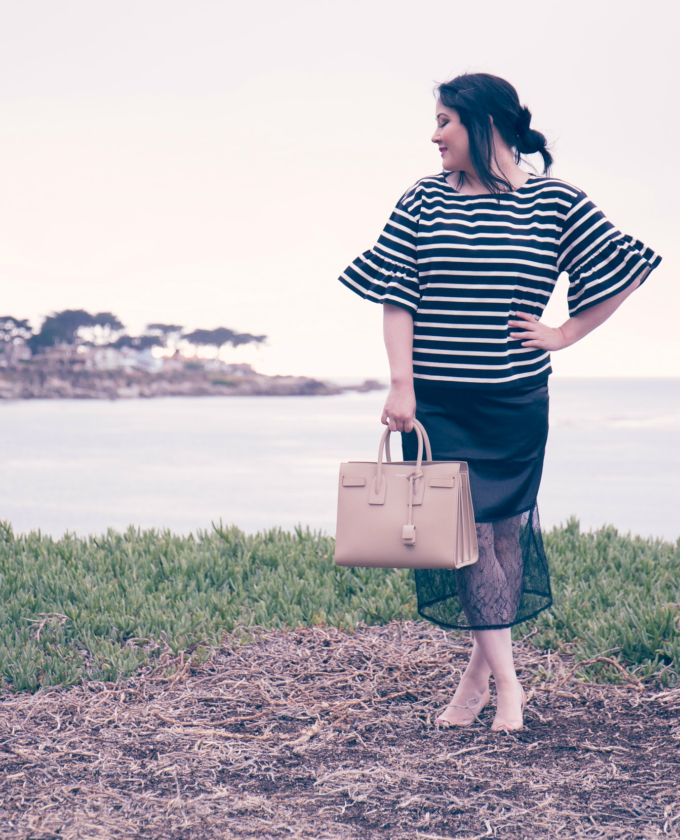 J.Crew RUFFLE-SLEEVE TOP and Point Lobos Pacific Grove