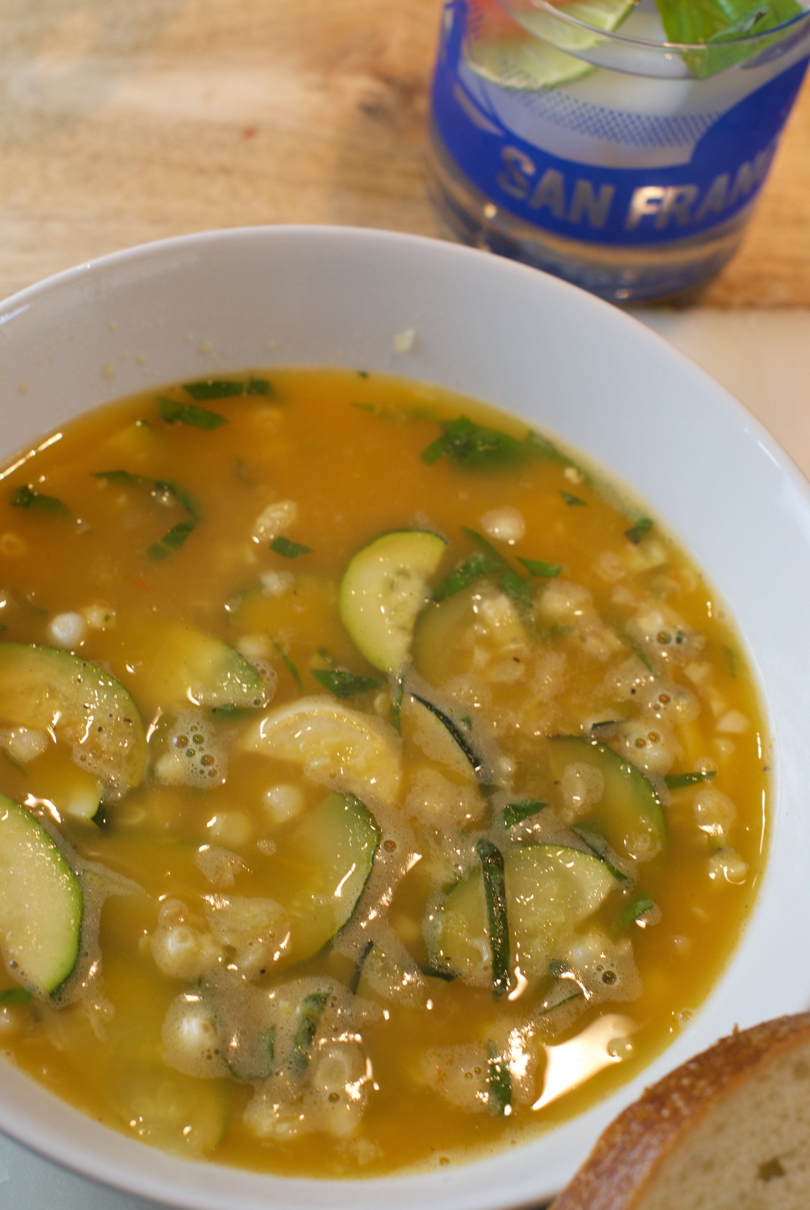 Summer Vegetable Soup with Roasted Corn and Zucchini