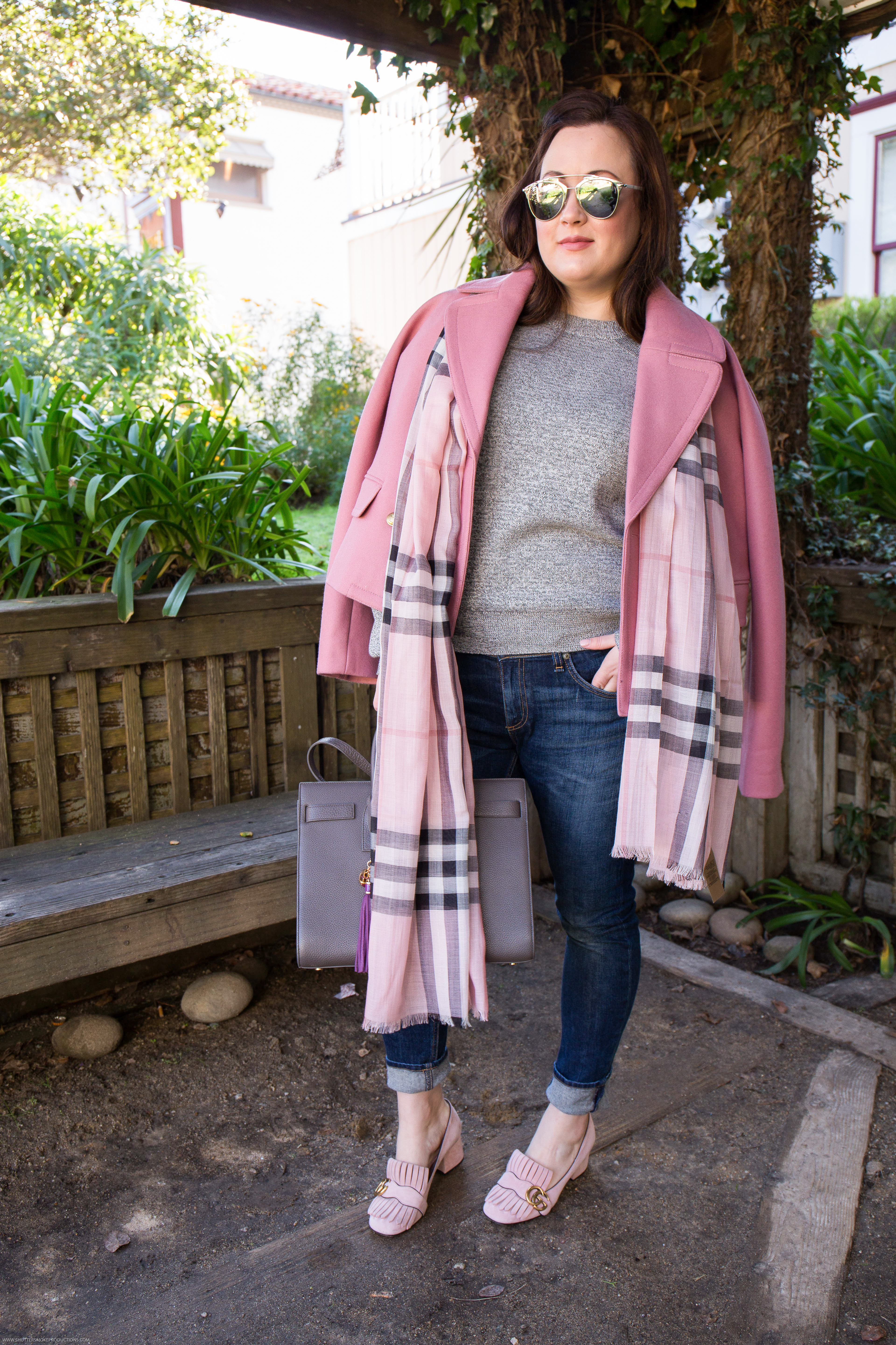 Pink J.Crew Peacoat with Burberry Scarf and Gucci Marmont slippers