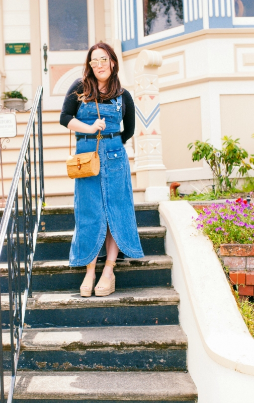 Chloe dress and espadrilles, gucci belt and vintage bag