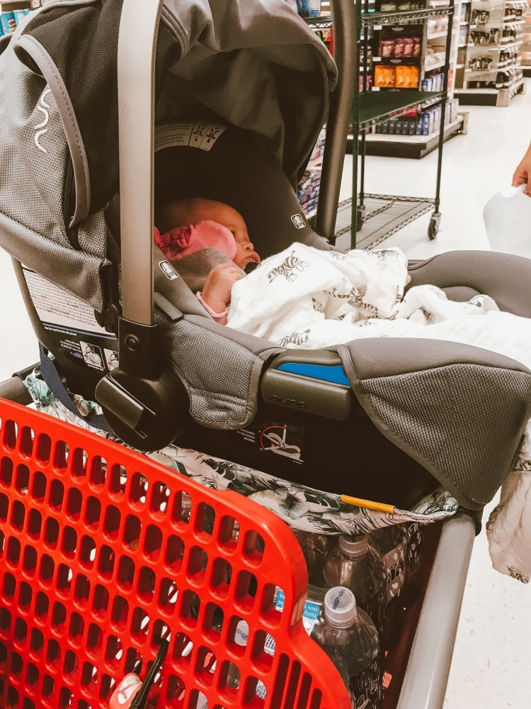 Olivia's First Shopping Trip: Binxy Baby Shopping Cart Hammock featured by popular California life and style blogger Haute Beauty Guide