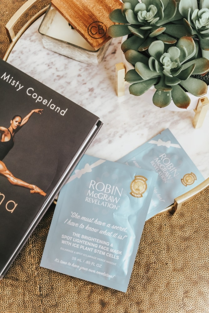 NEW She Must Have a Secret, I Have to Know What It Is! Brightening & Spot Lightening Face Mask with Ice Plant Stem Cells - Facial Night: Brightening & Spot Correction Face Mask by Robin McGraw featued by popular California beauty blogger Haute Beauty Guide
