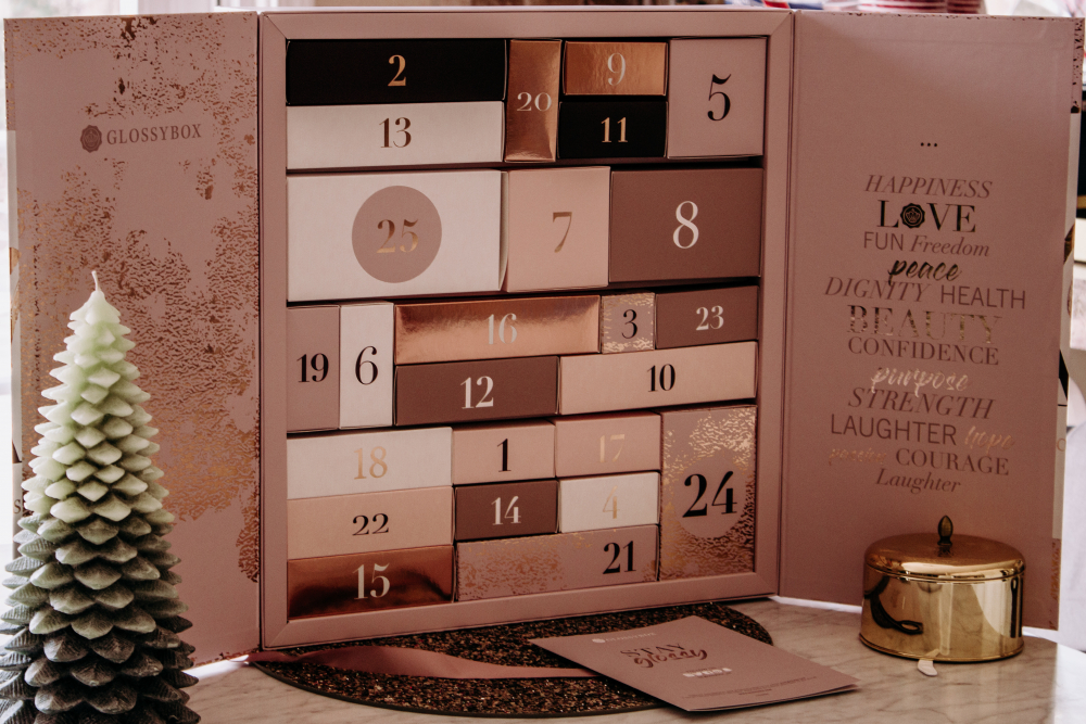 Glossybox Advent Calendar reveal featured by top California beauty blog, Haute Beauty Guide