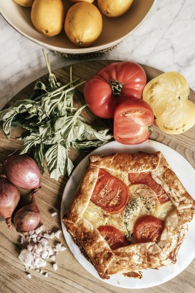 Heirloom Tomato Galette with feta cheese