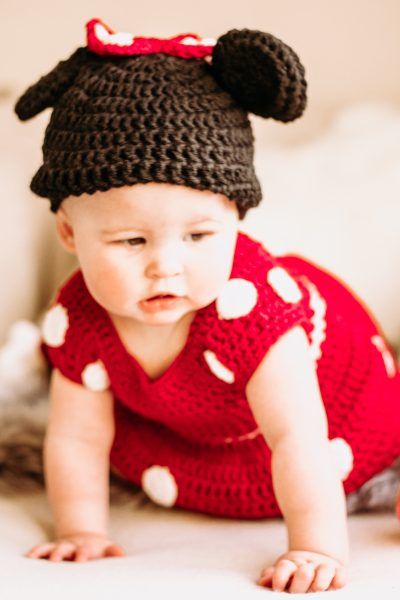 Useful Baby Gifts That New Moms Will Actually Use by popular California lifestyle blog, Haute Beauty Guide: image of Etsy mamamegsyarnshoppe Minnie Mouse Inspired Costume.