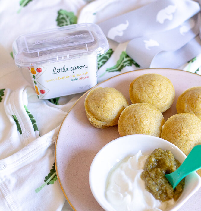 LittleSpoon Baby Blends Review | Baby Puffin Bites with LittleSpoon by popular California life and style blog, Haute Beauty Guide: image of a plate with LittleSpoon baby food and baby puffin bites on it.