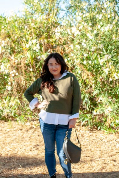 How To Style A Button Down Shirt Three Ways by popular California blog, Haute Beauty Guide: image of a woman wearing a Grayson button down shirt.