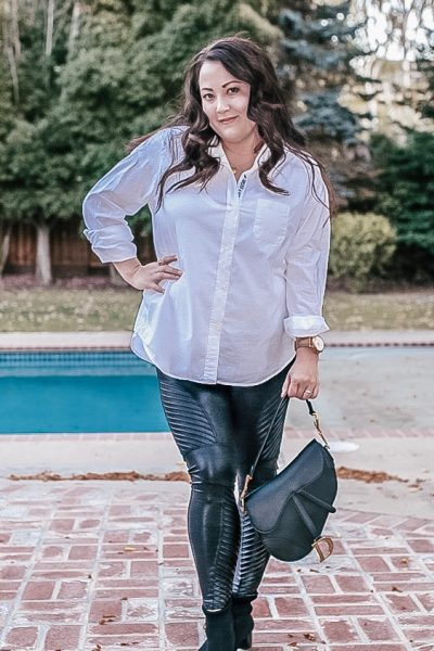 3 ways to style a white button down shirt | How To Style A Button Down Shirt Three Ways by popular California blog, Haute Beauty Guide: image of a woman wearing a Grayson button down shirt.