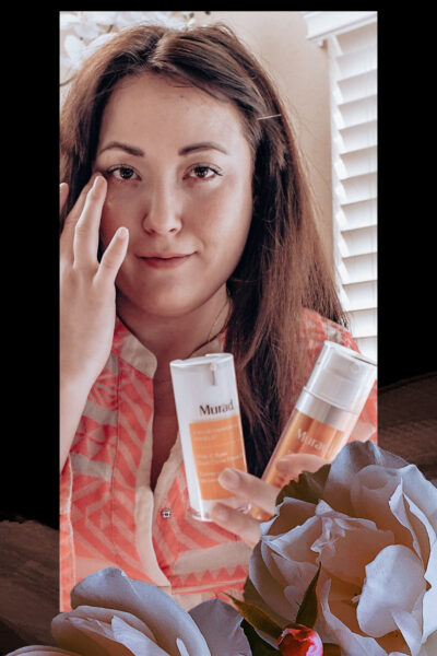 Murad Vitamin C by popular Monterey beauty blog, Haute Beauty Guide: image of a woman holding some Murad Vitamin C beauty products.