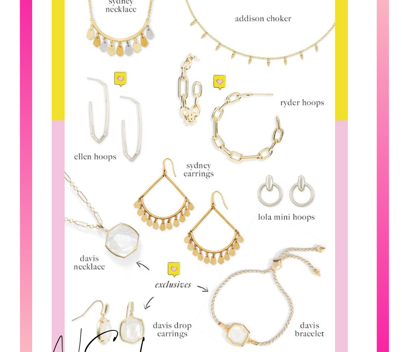 Top 10 Kendra Scott Picks from the Nsale | Nordstrom Anniversary Sale by popular Monterey fashion blog, Haute Beauty Guide: collage image of various Kendra Scott earrings, necklaces, and bracelets.