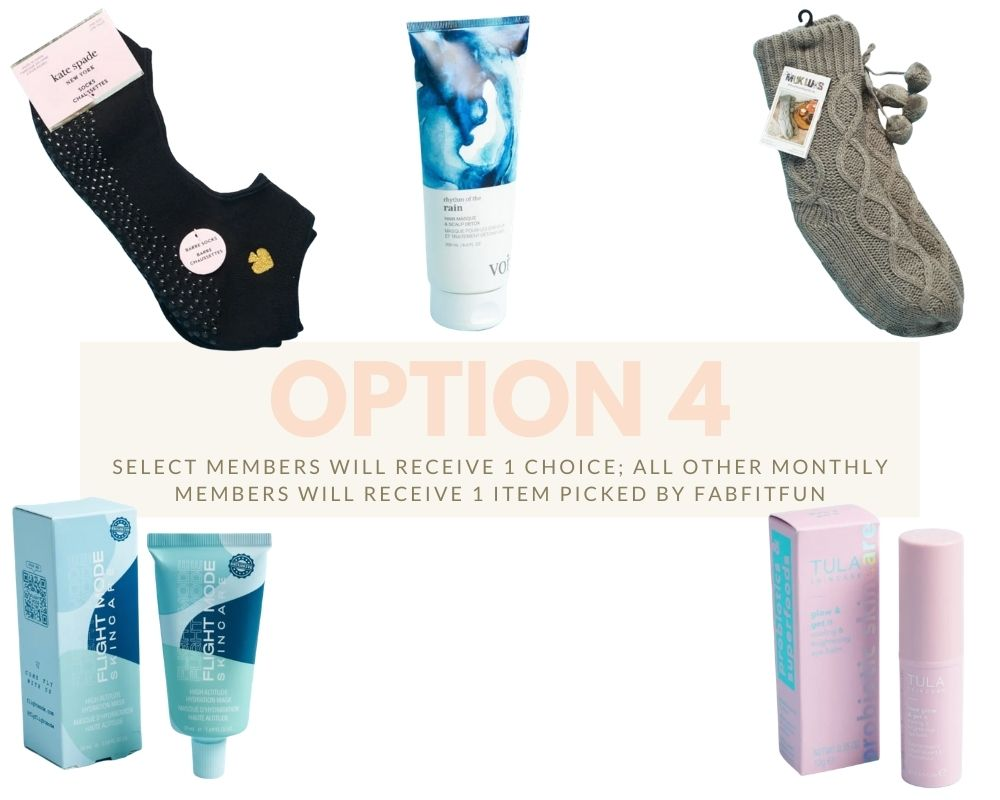 FabFitFun Box by popular Monterey life and style blog, Haute Beauty Guide: image of a pair of Kate Spade New York Workout socks, Muk Luks cabin socks, Vior Haircare rhythm of the rain hair masque and scalp detox, Tula Skincare rose glow and Get it cooling and brightening eye balm, and Flight mode skincare mask.