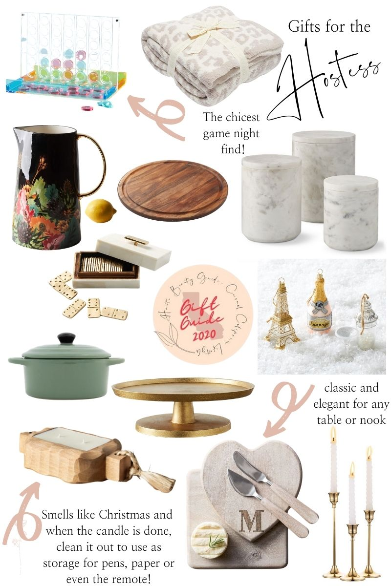 Hostess Gifts by popular Monterey lifestyle blog, Haute Beauty Guide: collage image of an acrylic connect 4 game, Barefoot Dreams blanket, black floral porcelain pitcher, cast iron dutch oven, dominos, glass tree ornaments, wood serving tray, gold cake stand, marble canisters, wooden candle, monogram cheese knives, gold candle stick holders.