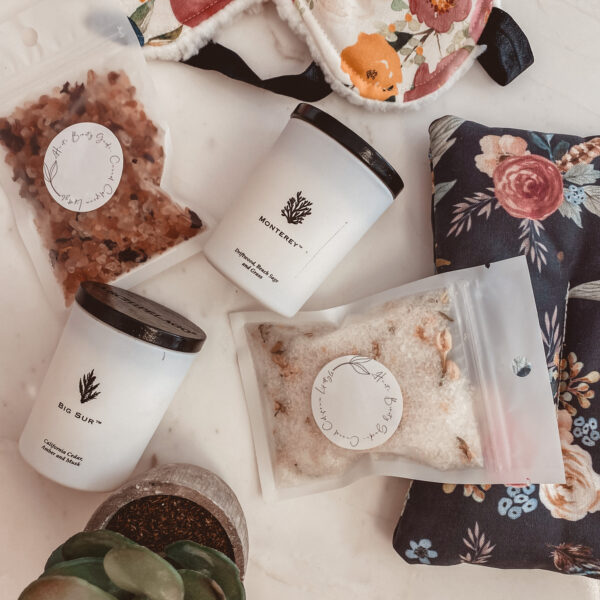 Haute Beauty Guide Studio by popular Monterey life and style blog, Haute Beauty Guide: image of bath salts, potted succulent plant, candle and floral fabric sleeping mask.