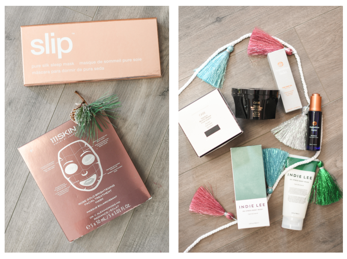 Black Friday Beauty by popular Monterey beauty blog, Haute Beauty Guide: image of a slip sleep mask, 111skin face mask, and Indie Lee products.