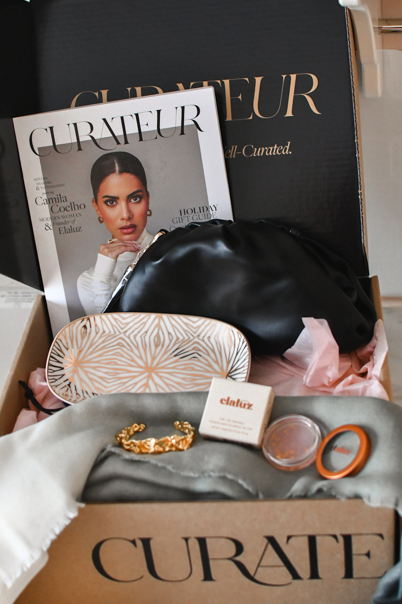 Curateur Box Winter 2020 by popular Montery life and style blog, Haute Beauty Guide: image of a Curateur box filled with jewelry, makeup, accessories and a Curateur magazine.