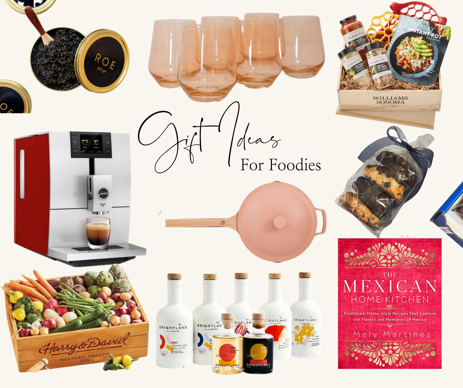 Foodie Gift Ideas by popular Monterey lifestyle blog, Haute Beauty Guide: collage image of The Mexican Home Kitchen cook book, coffee machine, Instant Pot Gift Crate, Roe Caviar, Colored wine stemless glasses, Brightland olive oil, baby vegetable basket, Our Place pan, and Levain Bakery treats.