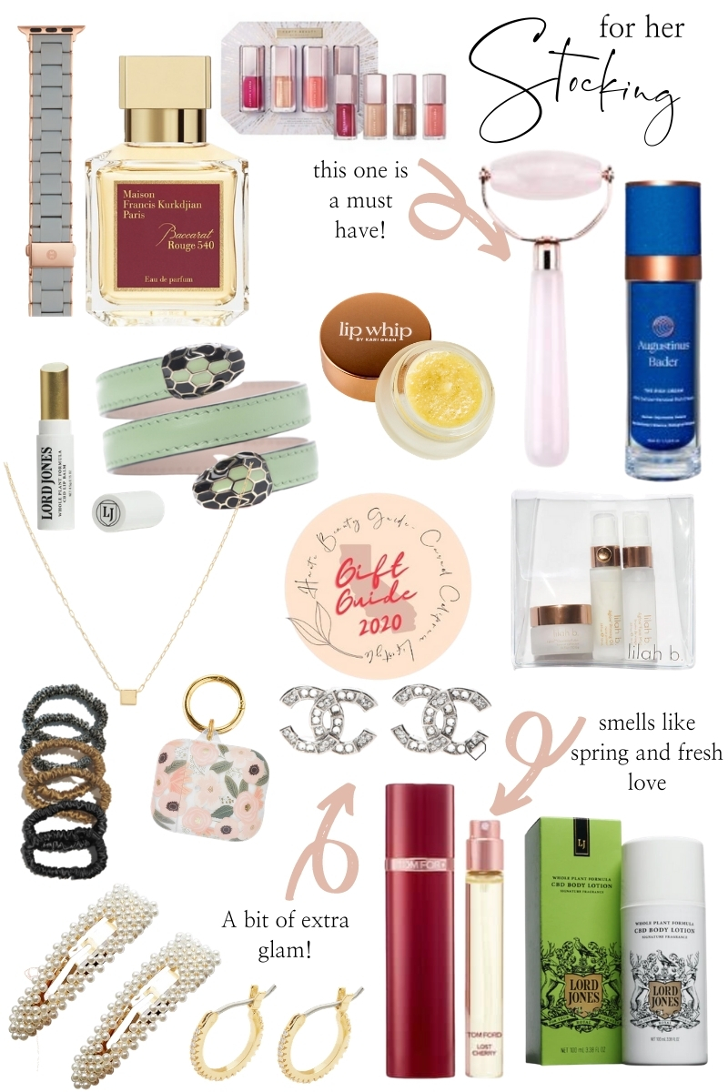 Stocking Stuffer Ideas by popular Monterey life and style blog, Haute Beauty Guide: collage image of Chanel earrings, lilah b face product, scrunchies, pearl hair clips, Lord Jones body lotion, perfume, Airpods case, CZ gold hoop earrings, lip whip, rose quartz face roller, snake buckle belt, watch bnd, Maison Francis Kurkdjan Paris perfume, and gold necklace.