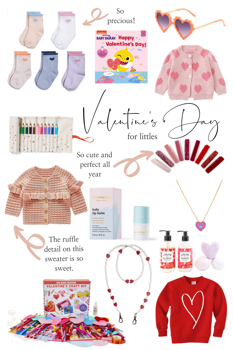 Valentine's Day Gift Ideas by popular Monterey life and style blog, Haute Beauty Guide: collage image of red and pink hair clips, heart frame sunglasses,and heart print crew socks,  baby shark happy Valentine's Day book, heart pendant necklace, Tubby Todd bath products, white and heart bead mask chain, Valentine's craft kit, red heart sweatshirt, pink ruffle knit sweater, colored pencils, heart print sweater, bath bombs, and baby lip balm.