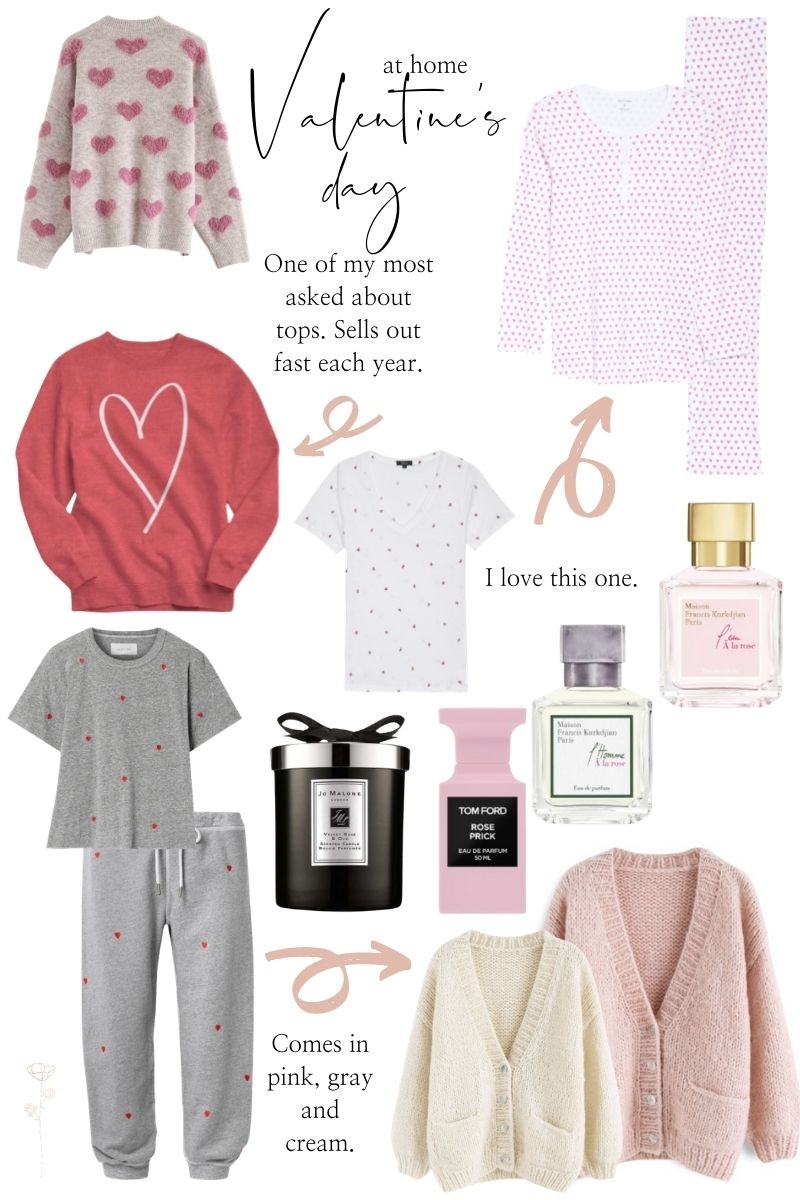 a collage of valentines day inspired tops, perfumes and candles.   Valentine's Day Outfits by popular Monterey fashion blog, Haute Beauty Guide: collage image of a heart pajama set, pink and cream knit sweaters, Tom Ford perfume, Jo Malone candle, heart print t-shirt, heart graphic sweatshirt, Heart print pajamas, and fuzzy heart sweater.