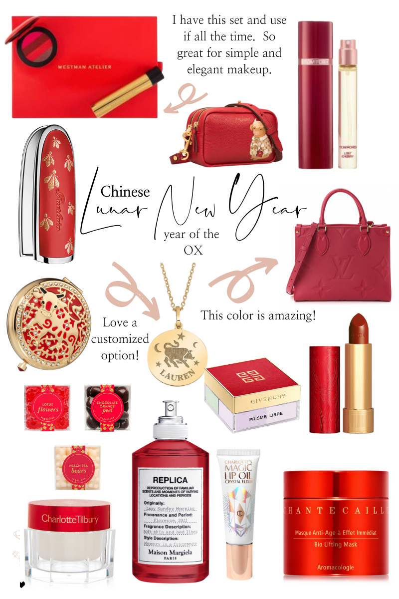 Lunar New Year by popular Monterey life and style blog, Haute Beauty Guide: collage image of red lipstick, red Louis Vuitton bag, lotus floers gummy candy, Replica perfume, Givenchy prime libre, red ox print bag, Charlotte Tilbury face cream, gold ox pendant necklace, gold and red ox compact mirror, and peach tea gummy bears.