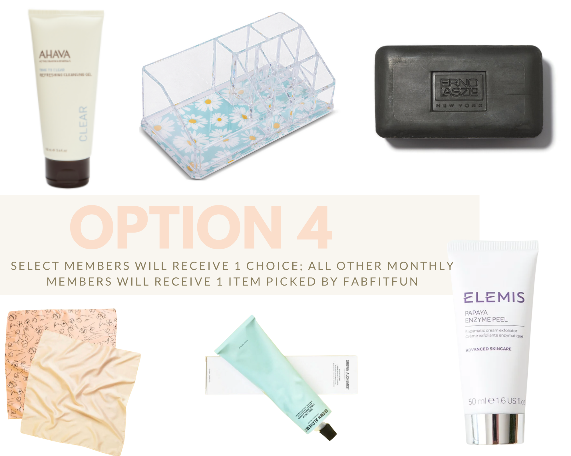 Spring FabFitFun Box by popular Monterey life and style blog, Haute Beauty Guide: image of AHAVA refreshing cleansing gel, Sorbus makeup organizer, Erno Laszlo sea mud deep cleansing bar, Lark & Ives hair scarf bundle, Grown alchemist body cream and ELEMIS papaya enzyme peel.
