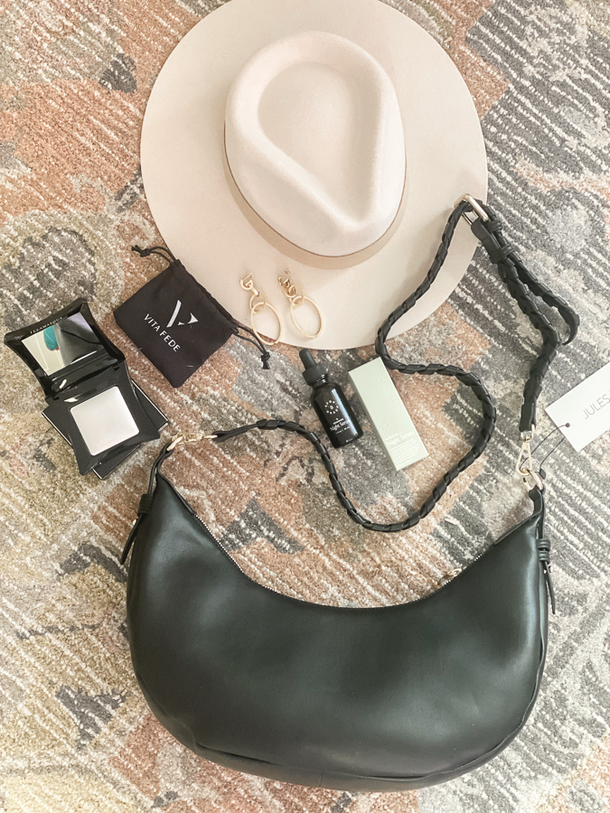 Spring Curateur Box by popular Monterey life and style blog, Haute Beauty Guide: image of a cream felt rancher hat, Jules Kae Zola bag, Vita Fede Cassio earrings, Hugh & Grace renewing night serum, and Illamasqua Beyond Powder.