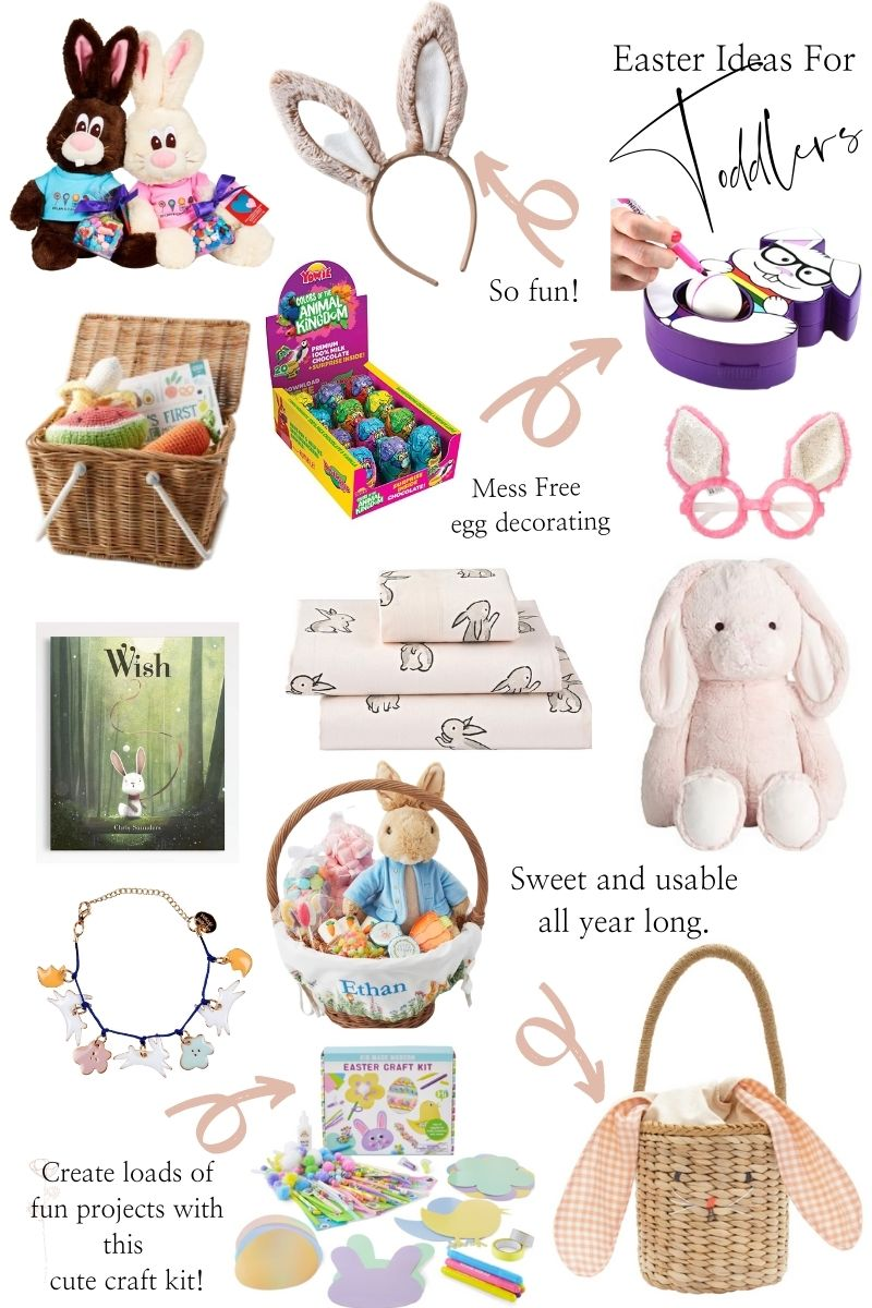 Toddler Easter Basket by popular Monterey motherhood blog, Haute Beauty Guide: collage image of a bunny Easter basket, Easter craft kit, bunny and flower necklace, monogram Easter basket, stuffed pink bunny, Wis book, bunny print bedding, Yowie Animal Kingdom eggs, play picnic basket, bunny ears glasses, and bunny ears, stuffed bunnies.