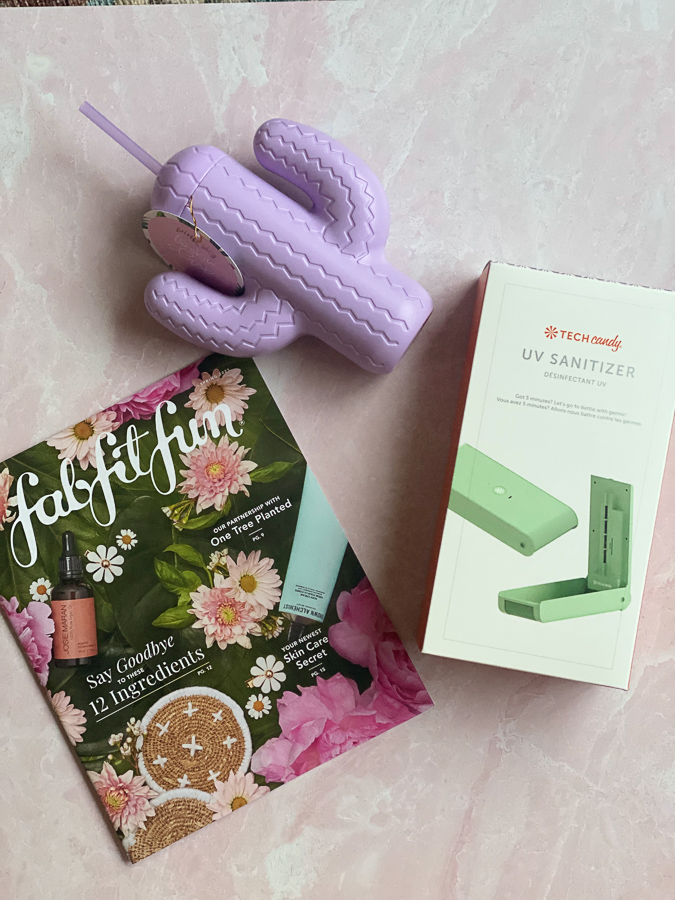 Spring FabFitFun Box by popular Monterey life and style blog, Haute Beauty Guide: image of fabfitfun catalogue cactus cup with straw and Tech Candy UV sanitizer.