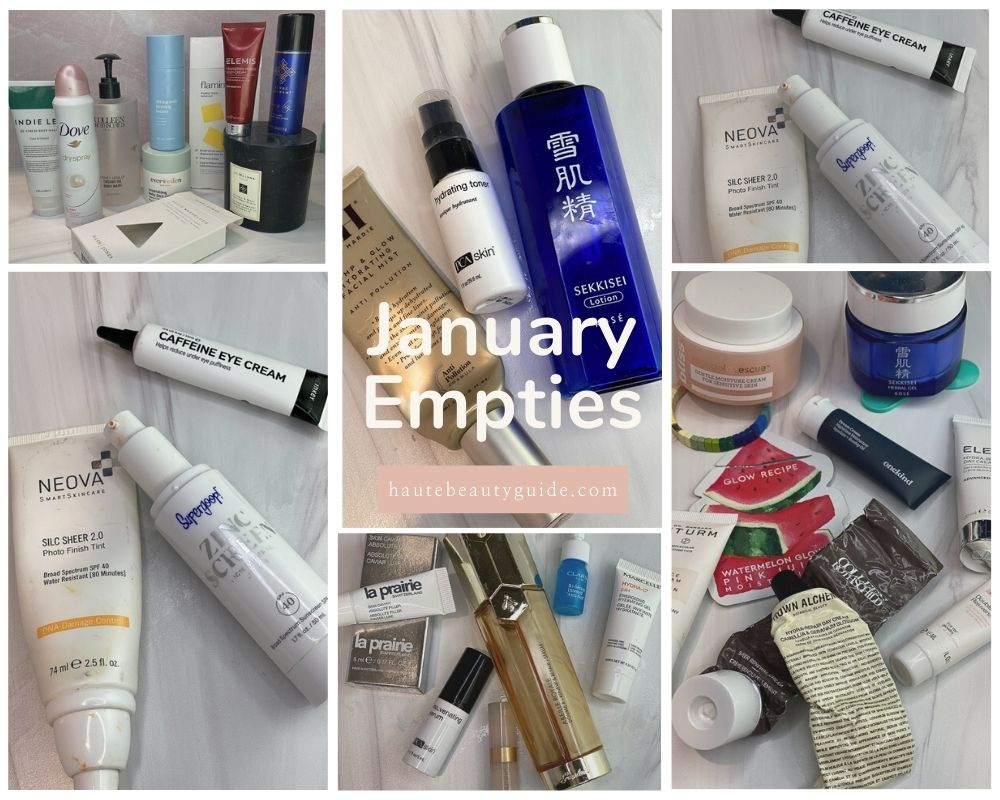 January Empties by popular Monterey beauty blog, Haute Beauty Guide: collage image of various empty beauty products.