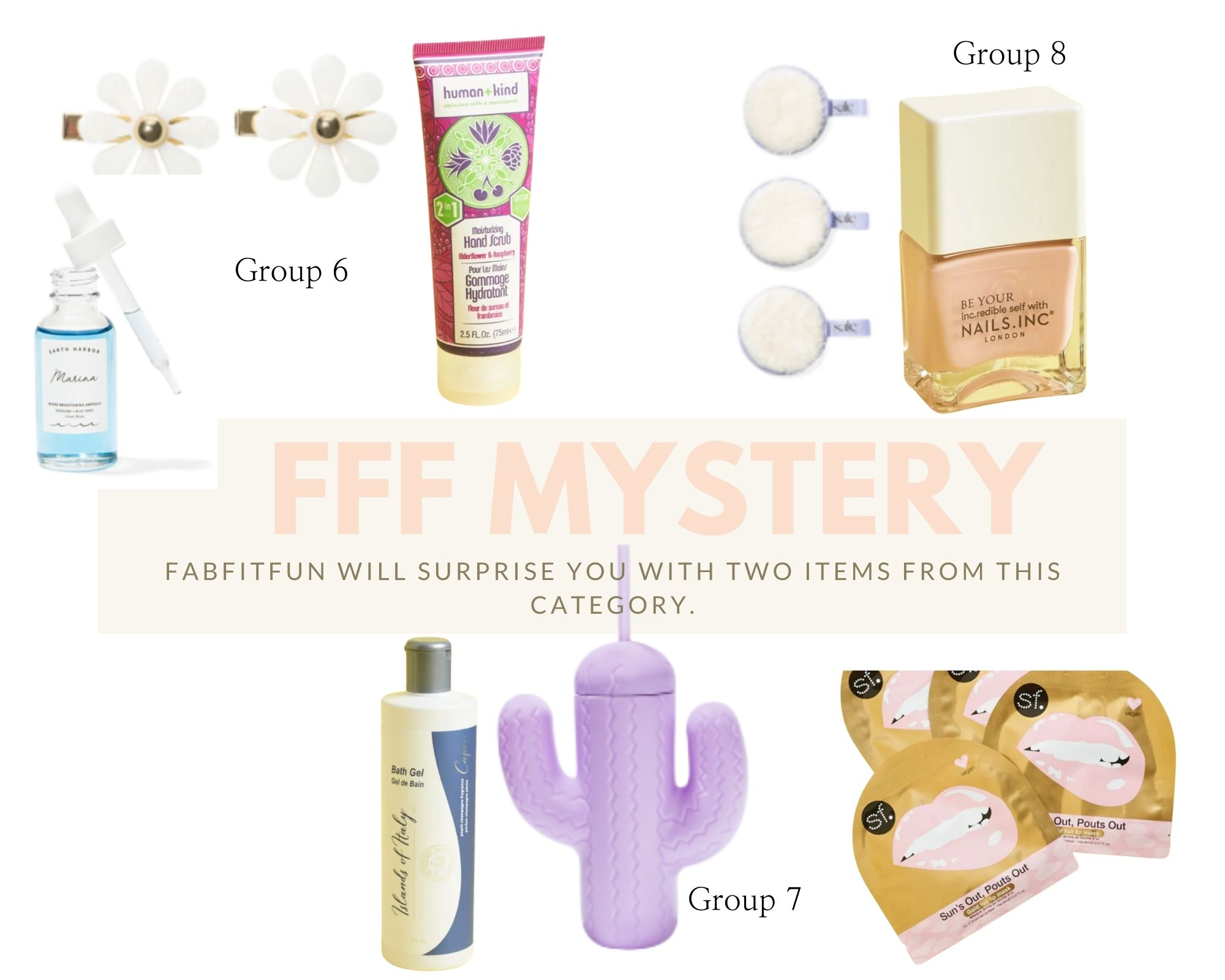 Spring FabFitFun Box by popular Monterey life and style blog, Haute Beauty Guide: image of jewel flower hair clips, human + kind hand scrub, Earth Harbor marina brightening ampoule, skin forum sun's out Pouts Out lip mask, pink sky cactus cup with straw, and Cali Cosmetics body wash.