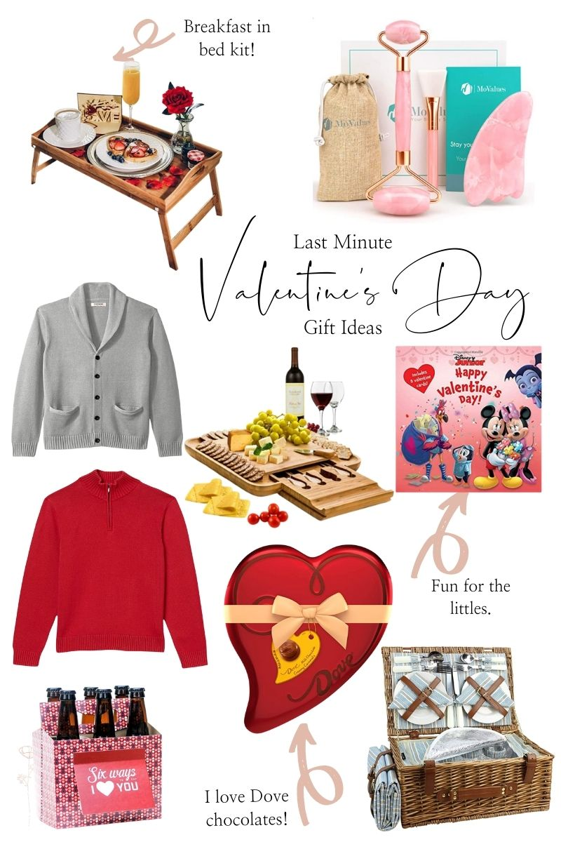 Last Minute Valentine's Day Gift Ideas by popular Monterey life and style blog, Haute Beauty Guide: image of a breakfast tray rose gold quartz roller, Happy Valentine's Day Disney Junior, charcuterie set, grey sweater, box of chocolates, picnic basket, grey cardigan, red pull over sweater, and root beer valentine,