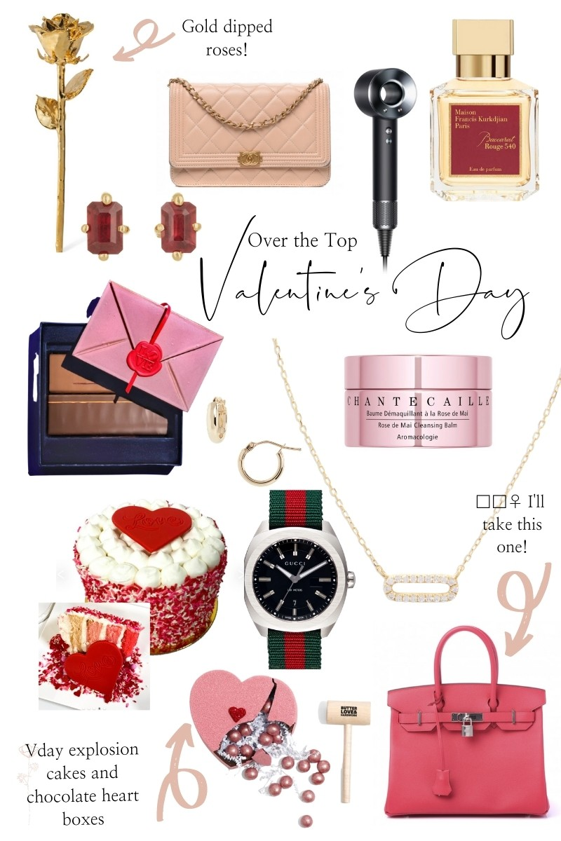 Over the Top Valentine's Day Gift Ideas by popular Monterey life and style blog, Haute Beauty Guid: collage image of a gold dipped rose, ruby earrings, Dyson hair dryer, Chante Caille beauty product, pink statement bag, ruby stud earrings, Valentine's Day theme cake, chocolate broken heart, Maison fragrances, and a pink quilted designer bag.