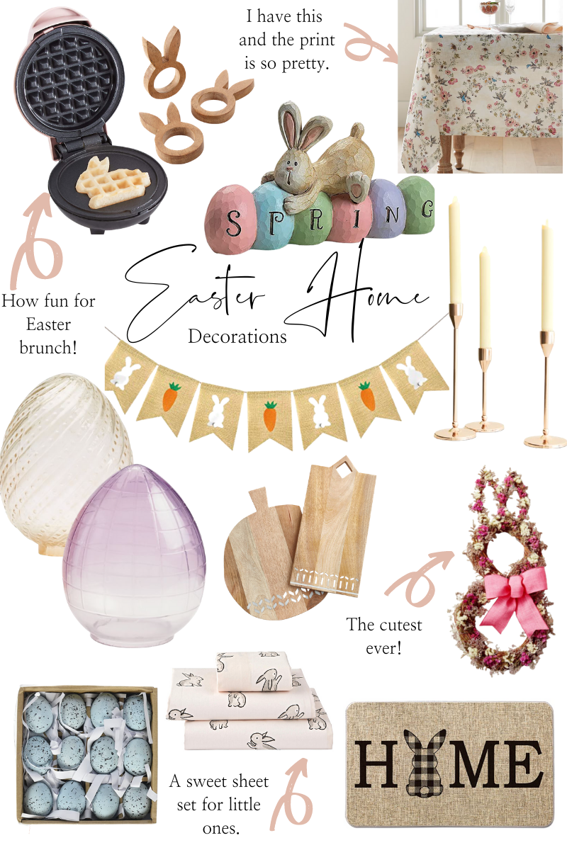 Easter Home Decor by popular Monterey life and style blog, Haute Beauty Guide: collage image of bunny wreath, faux robin eggs, wooden bunny napkin rings, black and white bunny table cloth, bunny home front door mat, wooden and bone inlay cutting boards, rose gold candle sticks, bunny shape waffle iron, floral print table cloth, bunny and easter egg spring decor, bunny and carrot burlap bunting, and glass egg votives.