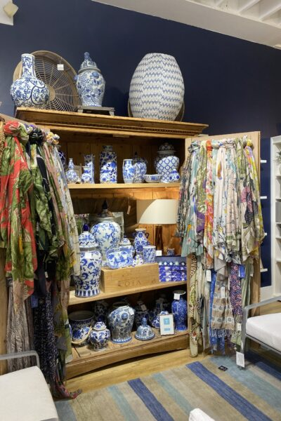 Carmel Plaza by popular Monterey lifestyle blog, Haute Beauty Guide: image of blue and white ginger jars.