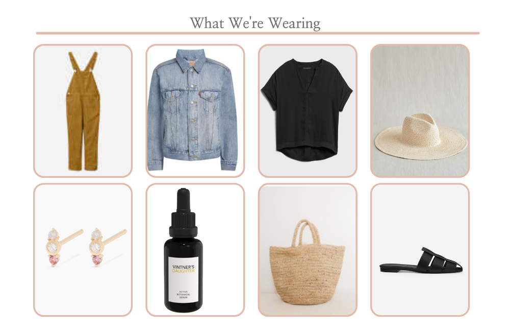 California Style by popular Monterey fashion blog, Haute Beauty Guide: collage image of overalls, denim jacket, black shirt, straw fedora hat, stud earrings, Vinter's Daughter, woven bag, and black slide shoe.