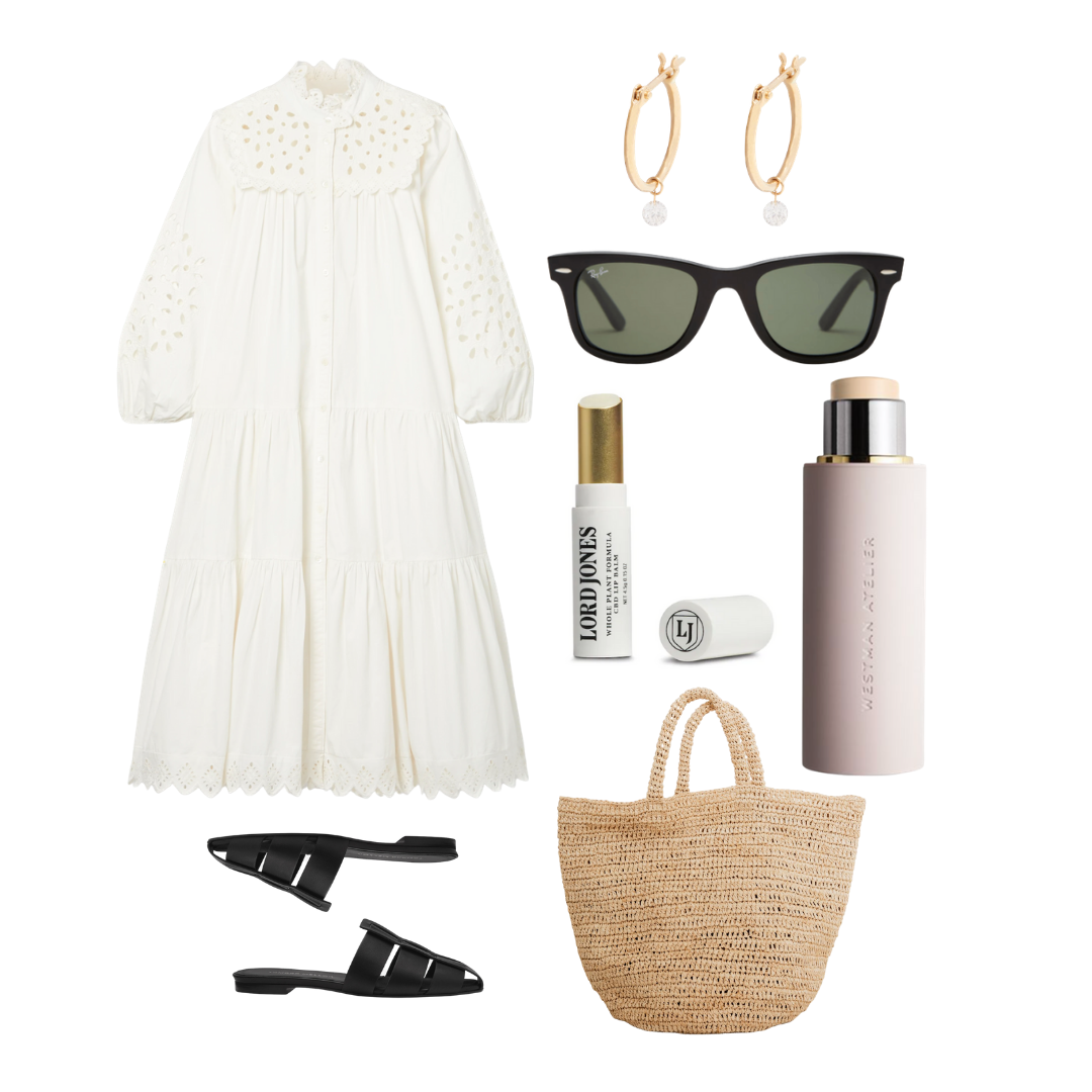 Summer Style by popular Monterey life and style blog, Haute Beauty Guide: collage image of black slide sandals, woven tote, Lord Jones CBD lip balm, Westman Atelier, gold hoop earrings, and a white eyelet dress.
