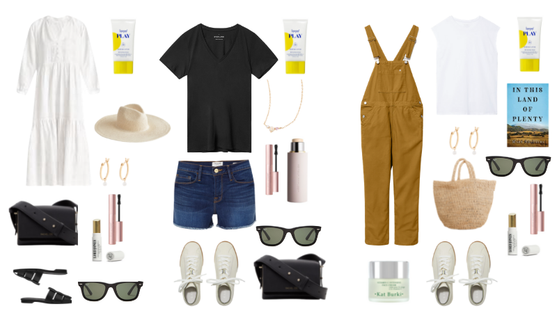 Carmel Valley Things to Do by popular Monterey travel blog, Haute Beauty Guide: collage image of white sneakers, black waist bag, mascara, Land of Plenty book, camel color overalls, denim shorts, gold huge hoop earrings, black slide close toe sandals, woven tote, black frame sunglasses, woven straw fedora hat, CBD lip balm and supergoop sunscreen.