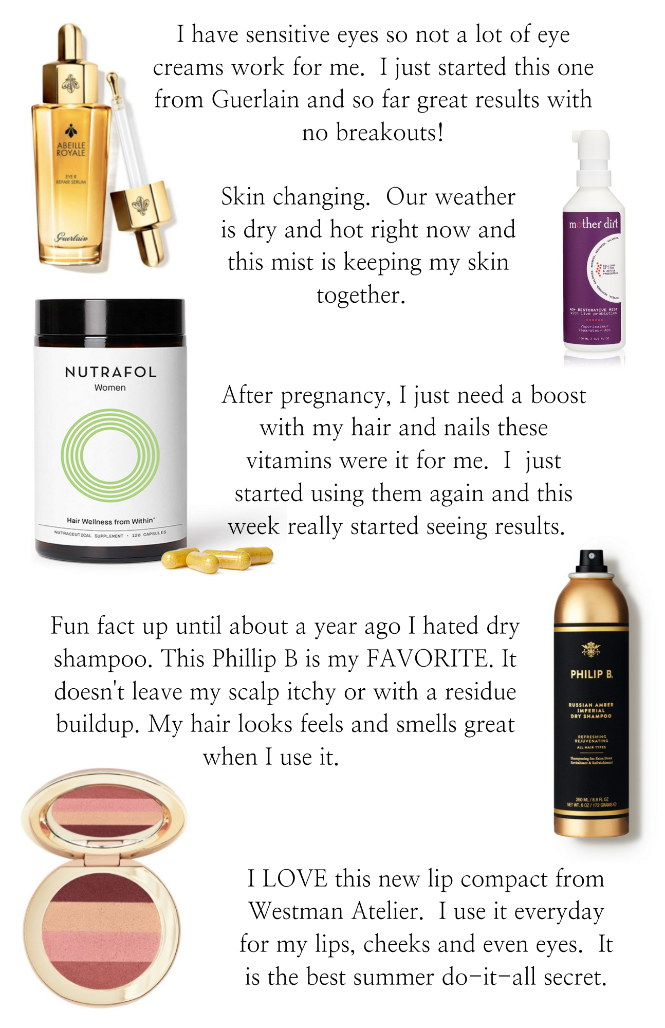 Best Beauty Products by popular Monterey beauty blog, Haute Beauty Guide: collage image of Abeille Royale Eye repair serum, Mother Dirt facial mist, Nutrafol hair wellness supplements, Philip B. Russian Amber Imperial dry shampoo, and Westman Atelier makeup pallet.
