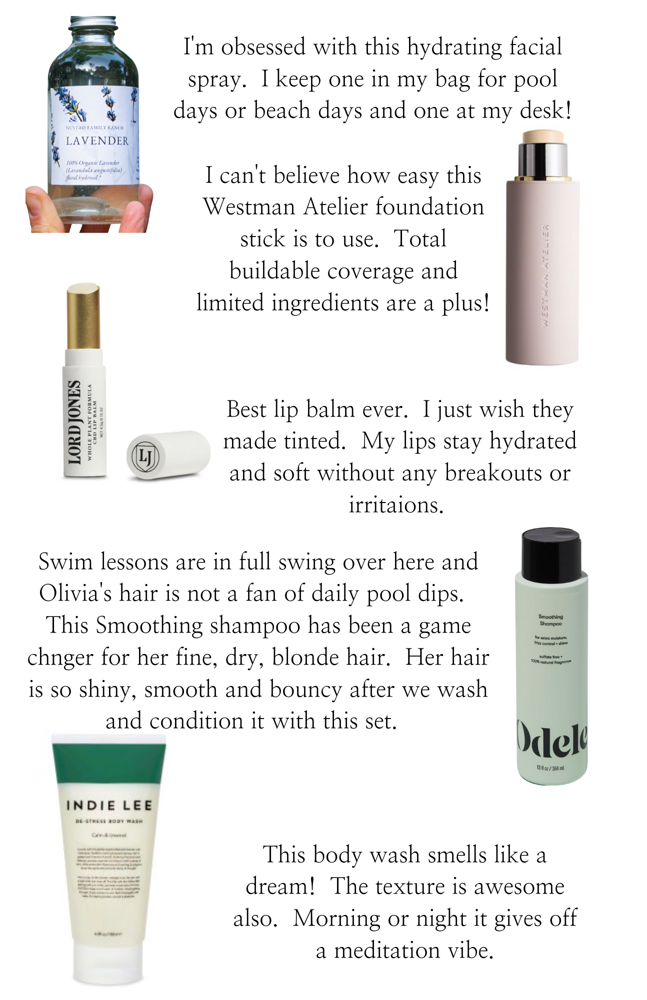 Beauty Finds by poplar Monterey beauty blog, Haute Beauty Guide: collage image of Nustad Family Ranch lavender, Westman Atelier foundation stick, Lord Jones lip balm, Odele shampoo and conditioner, and Indie Lee body wash.