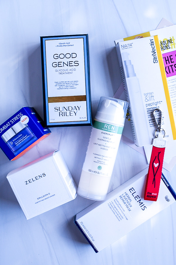 Caroline Hirons by popular Monterey beauty blog, Haute Beauty Guide: image of Zelens fortifying moisture, Ren gentle cleanser, the eve appeal key chain, Elemis herbal lavender repair mask, Good Genes Glycolic Acid treatment,  Strivectin tightening face cream, and Dr. Dennis Gross Skincare.