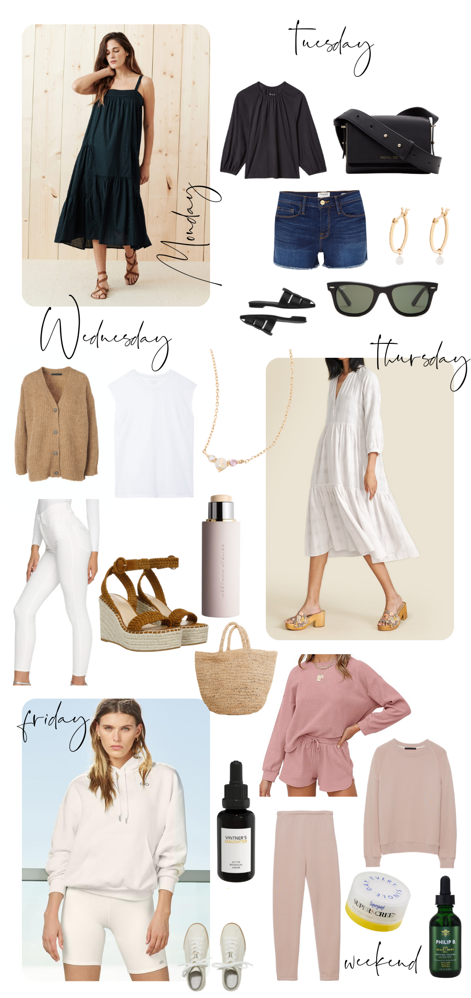 Outfit Ideas by popular Monterey fashion blog, Haute Beauty Guide: collage image of a black tiered midi dress, black 3/4 sleeve blouse, Marc Jacobs waist bag, shorts, black flat close toe sandals, brown sweater, white t-shirt, pearl necklaces, white maxi dress, white dress pants, brown espadrilles, straw bag, pink loungewear set, white hoodie sweatshirt, white sneakers, Vintner's Daughter serum, black frame sandals, and pearl hoop earrings.