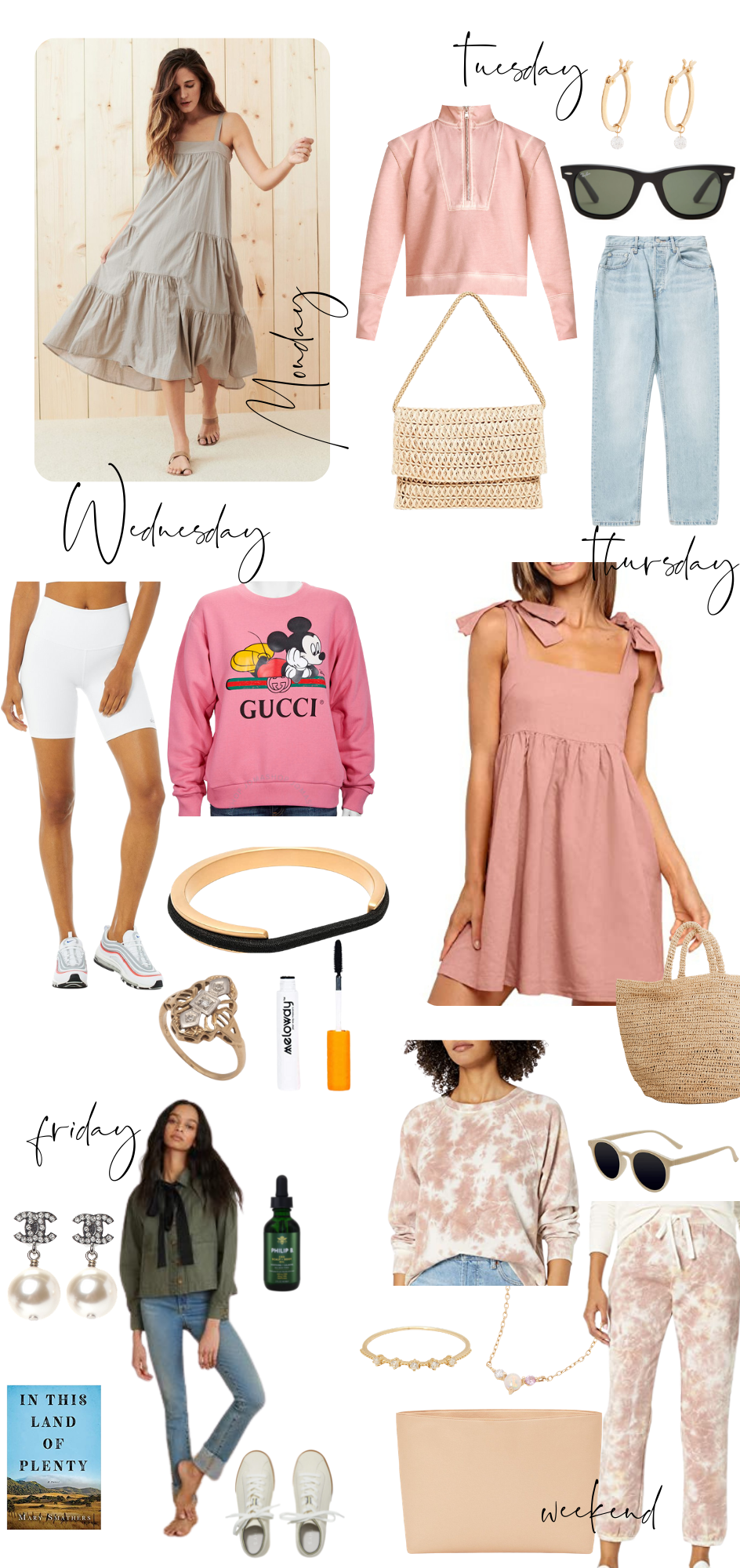 Weekly Outfits by popular Monterey fashion blog, Haute Beauty Guide: collage image of pink mock neck half zip pull over sweatshirt, grey tiered midi dress, black frame sunglasses, gold hoop earrings, woven purse, light wash high waist jeans, white biker shorts, pink Gucci Mickey Mouse sweatshirt, pink tie strap mini dress, Art Deco ring, mellowly mascara, pearl Chanel earrings, gold ring, gold and opal necklace, tan frame sunglasses, green cargo shirt with black necktie, pink and white tie dye sweater shirt and jogger pants set, tan clutch, white tennis shoes, and In This Land of Plenty book.