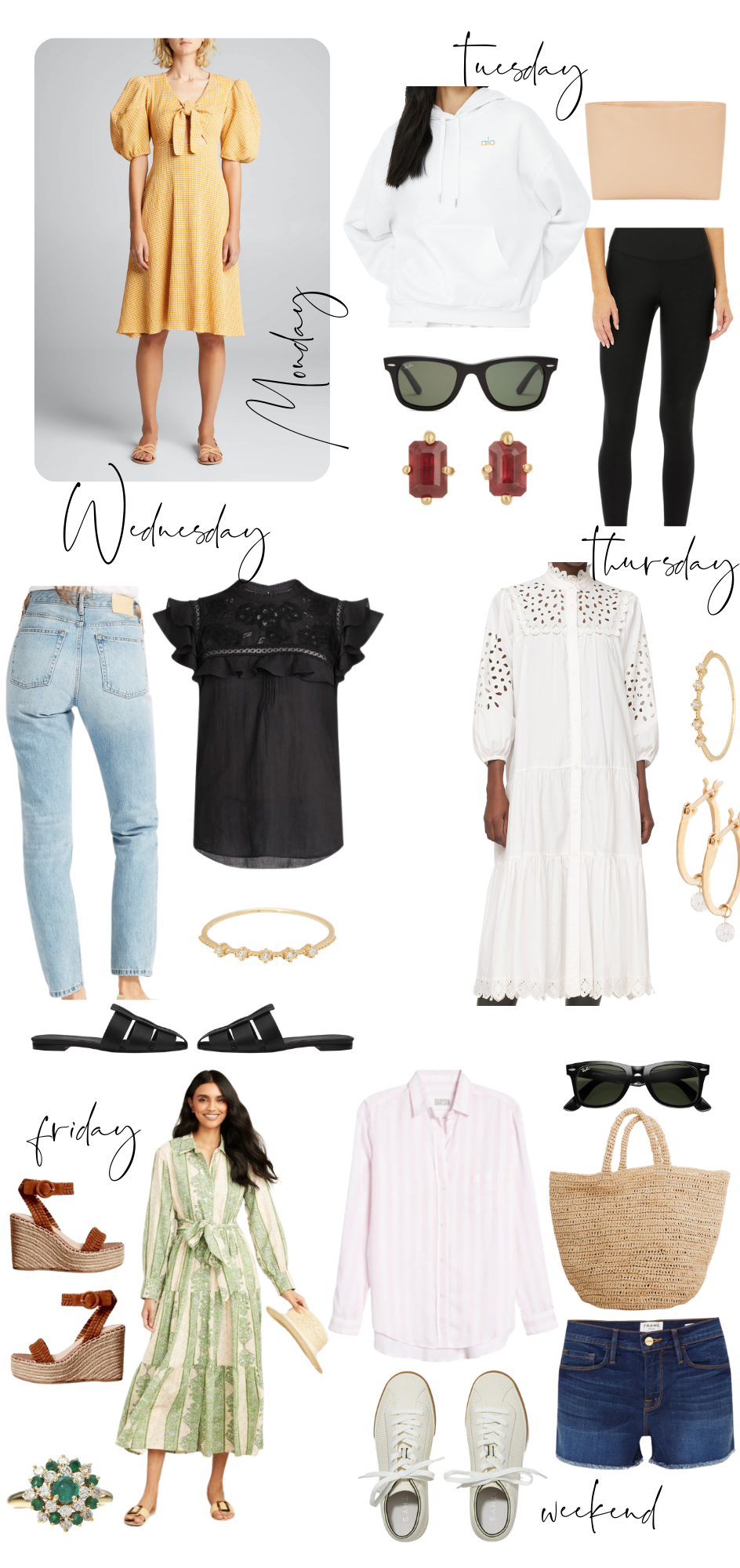 Summer Outfit Ideas by popular Monterey fashion blog, Haute Beauty Guide: collage image of a white hoodie sweatshirt, black leggings, tube top, red gem earrings, black Fram sunglasses, white eyelet dress, yellow puff sleeve dress, black eyelet flutter sleeve top, light wash high waist jean, gold hoop earrings, gold ring, black slide close toe sandals, woven tote bag, pink and white stripe shirt, denim shorts, white sneakers, brown strap espadrilles, emerald ring, and cream and white stripe tie waist maxi dress.