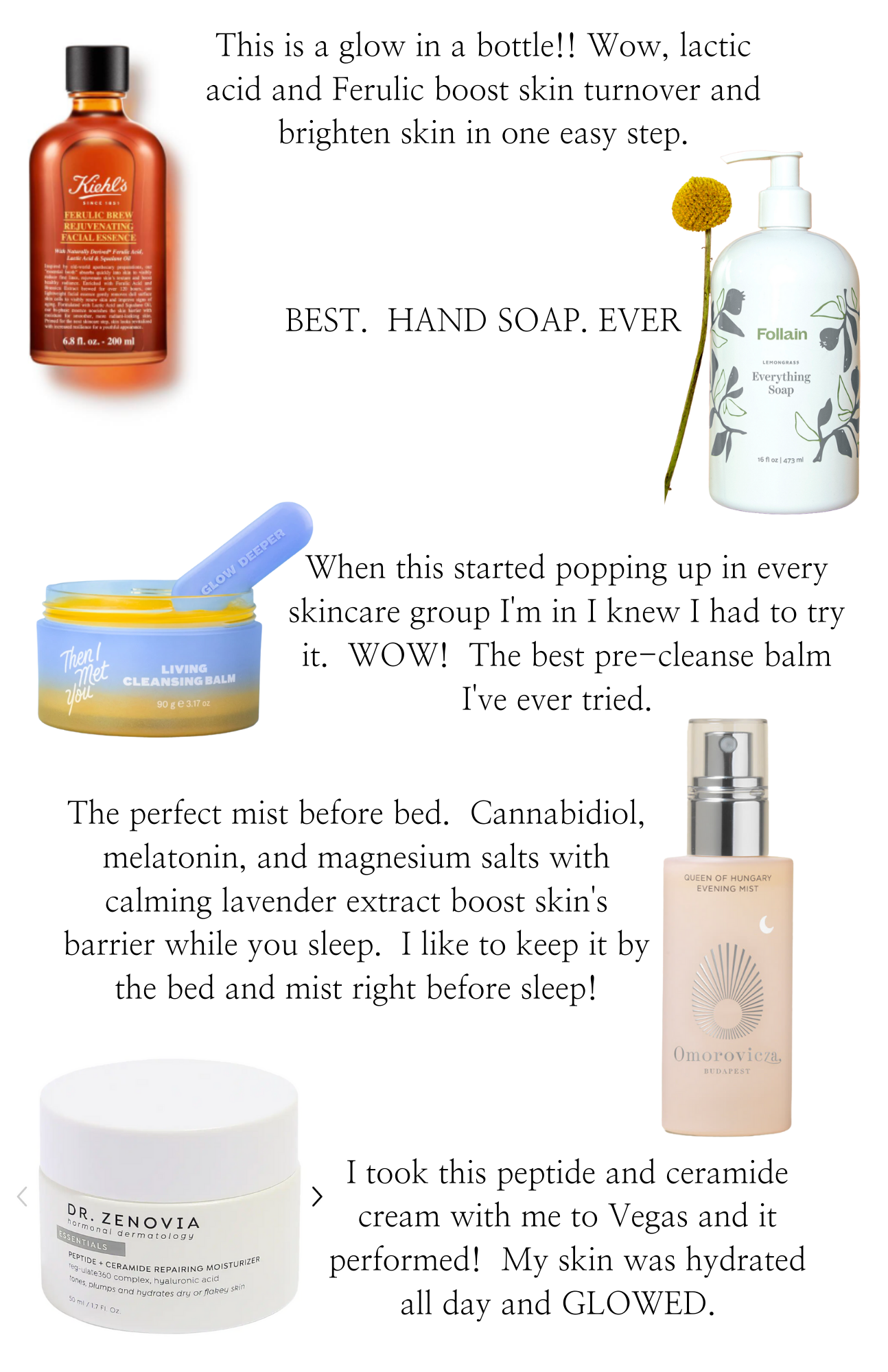 Best Beauty Finds by popular Monterey beauty blog, Haute Beauty Guide: collage image of Kiehl's facial essence, Follain everything soap, Living Cleansing Balm, Omoroviera cannabidiol melatonin, and Dr. Zenovia peptide moisturizer.