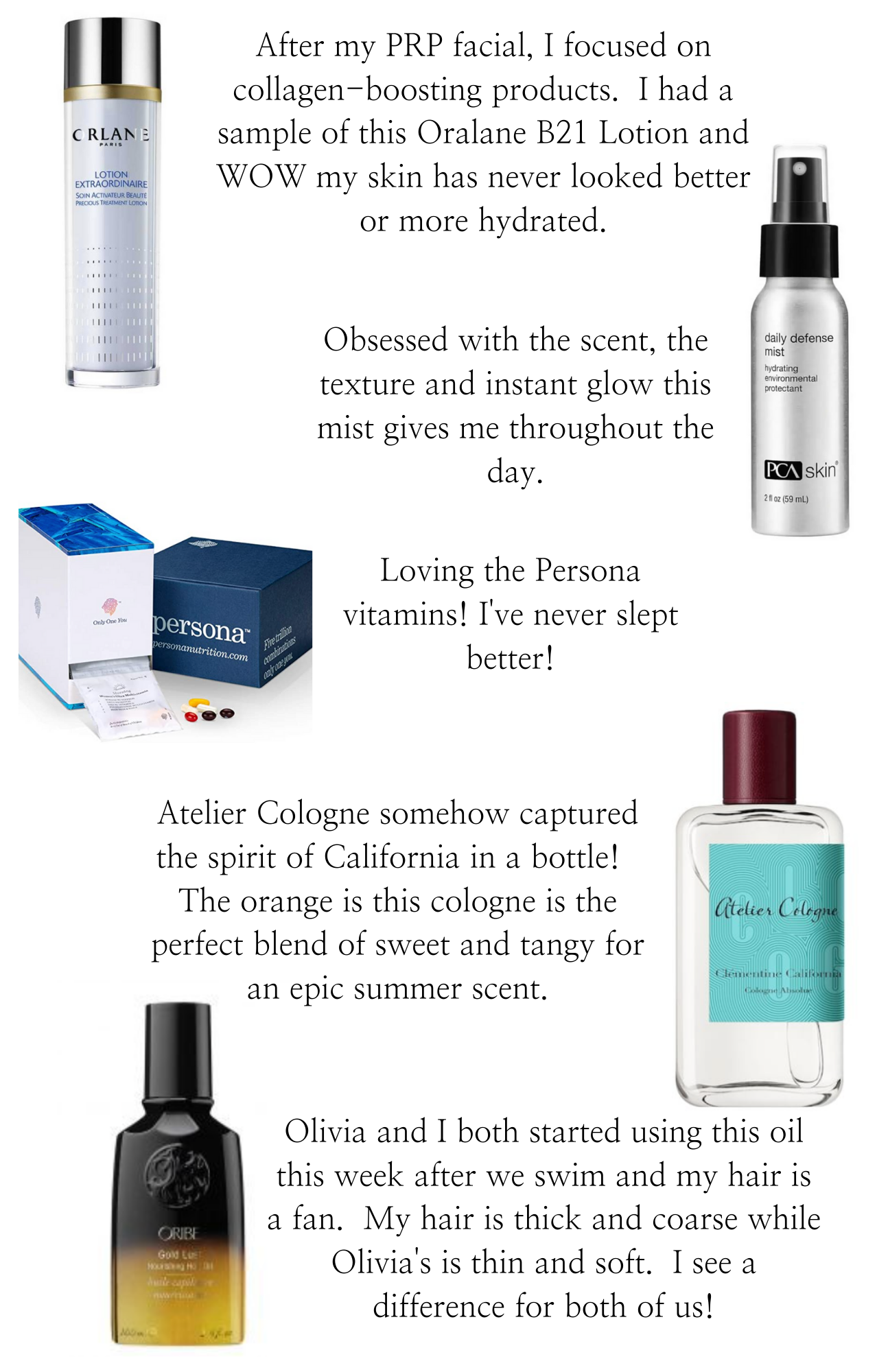 Best of Beauty by popular Monterey beauty blog, Haute Beauty Guide: collage image of Persona persona nutrition, PCA Skin, Atelier Cologne, Oribe oil, and Orlane lotion.
