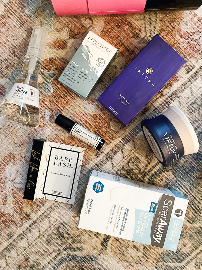 Test Tube Beauty by popular Monterey beauty blog, Haute Beauty Guide: image of babe lash, Virtue face cream Tatcha Kyoto red, and perfect shine oil mist.